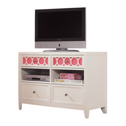 Hooker Furniture - Opus Designs Lily Four Drawer Media Chest in Eggshell White - Hooker Furniture - TV Stands - 150846211 - Express yourself and your room with color with Lily collection. Offered in a clean eggshell white finish Lily features removable color accent panels on case fronts