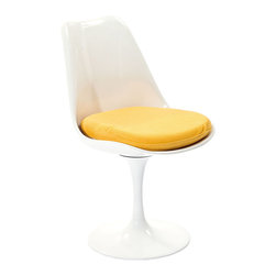 "IFN Modern - Tulip Style Chair-Yellow - Cashmere Wool - The Tulip chair was designed by Finnish-American designer Eero Saarinen in 1956. At the time, the Tulip Chair was renowned for its ""space-age"" curves and use of materials. Frivolity and sophistication in one minimalist design. The Tulip range is perfect for a modern pad or to add eclecticism to a more traditional home.Available in multiple finishes and upholstery optionsConstructed of durable fiberglassBase is a cast aluminum"