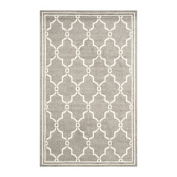 Safavieh - Chelsea Indoor/Outdoor Rug, Dark Grey / Beige 10' X 14' - Coordinate indoor and outdoor living spaces with fashion-right Amherst all-weather rugs by Safavieh.  Power loomed of long-wearing polypropylene, beautiful cut pile Amherst rugs stand up to tough outdoor conditions with the aesthetics of indoor rugs.