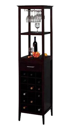 Winsome - Winsome 18-Bottle Wine Tower in Espresso - Winsome - Wine Racks - 92567 - Classically styled and with a sleek compact design, This Wine Tower stores eighteen bottles of wine in individual drawers with an extra drawer for storing bottle openers and other accessories. A hanging roof stemware rack safely retains glasses while two shelves allow for storage and serving. A rich espresso finish completes the look of the Winsome Bottle Wine Tower.