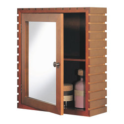 Organize It All - Medicine Cabinet in Teak - The medicine cabinet, from the Spa Collection, is a great way to store away toiletries and bathroom supplies. It has a wood frame construction in a teak finish and hangs securely to the wall. Wood framed door has a mirror. See other Organize It All items from the Spa Collection to match. Wall Mount Kit included. 16.5 in. W x 6 in. D x 19.625 in. H