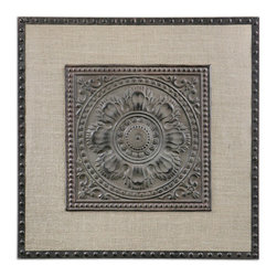 Uttermost - Filandari Stamped Metal Wall Art - Lightly stained burlap matting with stamped metal details finished in rust bronze with a light tan wash