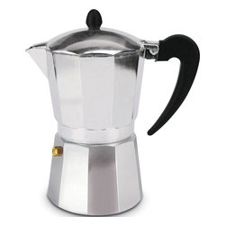 Cuisinox - 3 Cup Espresso Stovetop Coffeemaker - As the cold water in the lower chamber heats, the pressure from its boiling forces the water up through the coffee grounds. In just a few minutes, espresso emerges from the spout into the upper chamber as the pot hisses and gurgles. Remove the pot from the heat and let it stand until the lower chamber is releasing only steam.