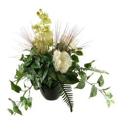 D&W Silks - D&W Silks Peonies And Orchid In Round Ceramic Planter - Peonies and orchid with mixed foliage in round ceramic planter.