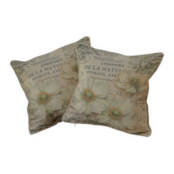 """Best Selling Home Decor - 18"""" Flower Script Pillows (Set of 2) - Give your home an update with this attractive pillow set. These pillows feature a linen blend cover for soft elegance. Set includes: Two pillows; Pattern: Flower Script; Color options: Cream, Beige, Yellow, Black, Green; Cover closure: Hidden zipper closure; Edging: Knife edge; Pillow shape: Square; Dimensions: 18 inches wide x 18 inches long; Cover: Linen Blend; Fill: 100-percent Polyester; Care instructions: Spot clean with a damp cloth."""