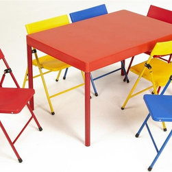 Cosco Office - 7-Pc Kids Table Set - Includes six folding chairs and one table. Easy to clean and store. Pinch-free hinges and screw in legs. Durable steel frame with powder coated finish. Warranty: One year. Made from steel and polypropylene. Primary colors. No assembly required. Table: 36 in. L x 24 in. W x 21.5 in. H (38.06 lbs.)Our pint-sized sets are designed for big fun. In bright, primary colors, theyre ideal for arts and crafts projects, tea parties and birthdays. Everyone will want to sit at the kids table. Fun, bright and vivid color. Legs store under table top creating a thin profile.