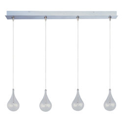ET2 Lighting - Larmes 4-Light Linear Pendant - Dance, eat, sing, do homework, check your email — do whatever you want in the rain when you sit under a pendant light such as this one. Elegant glass teardrops of light illuminate the area below in a custom stagger effect creating a feasible way to dance in between the drops of light.