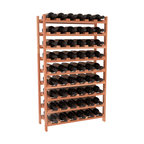 54 Bottle Stackable Wine Rack in Redwood with Satin Finish - Three times the capacity at a fraction of the price for the 18 Bottle Stackable. Wooden dowels enable easy expansion for the most novice of DIY hobbyists. Stack them as high as you like or use them on a counter. Just because we bundle them doesn't mean you have to as well!