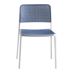 Kartell - Audrey Chair, Set of 2, Aluminum/Blue - Audrey, the eclectic seat combining aluminum and plastic and designed by Piero Lissoni is a versatile and contemporary chair which because of its simple, clean lines due to a special die-casting process is composed of only two parts and made without welding. It is multifunctional and adaptable to all uses, indoor, outdoor, the home, office and contract, with its wonderfully rich range of combinations (about 50 in all). Audrey comes in either the chair or the armchair (with arms) version with seat and back in various colors of plastic and the aluminum frame has three versions: painted aluminum, painted white or painted black. This seat can also be used outdoors.
