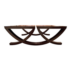 Profiles - Consigned Profiles Coffee Table - Two becomes one in this handsome and sophisticated coffee table. Gently used and in excellent condition, the wooden base is joined by two surfaces, leaving your aesthetic and functional senses fully satisfied for entertaining.