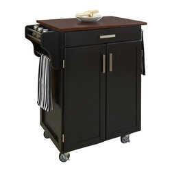 Home Styles - Home Styles Cuisine Cart in Black Finish with Cherry Top - Home Styles - Kitchen Carts - 90010047G - Home Styles Cuisine Kitchen Cart in a black finish with a 3/4 inch Cherry finished wood top features solid wood construction, and has a Utility drawer; 2 cabinet doors open to storage with adjustable shelf inside; Handy spice rack, Towel bar; Heavy duty locking rubber casters for easy mobility and safety. Size: 32.5w 18.75d 35.5h. Assembly required.