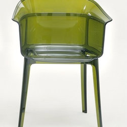 """Kartell - Papyrus Chair (Set of 2) - An admirable marriage of simplicity and refinement, grace and memory, Papyrus is a remake of the archetypal antique rush chair, from a time when chair structures were decisive and strong. This chair combines a translucent support with a slender vertical pebbling, running along the entire outside of the rounded backrest, with its soft and snug lines. The seat is comfortable and welcoming, and the entire structure is light. Papyrus' wide range of brand-new old-fashioned"""" colors make the play of the worked surfaces even more evident and attractive. Perfect for public and residential establishments.Features at a Glance: Papyrus Chair Features: -Made of transparent or batch-dyed polycarbonate. -Stackable up to four chairs high. -Can be used indoors or outdoors. -Suitable for residential or commercial use. Specifications: Dimensions: -31.1"""" H x 23.63"""" W x 19.29"""" D. -Seat Height: 17.33"""" W. Quality: -In 2005, Kartell received accreditation for its Quality Management Systems according to the ISO 9001: 2000 standard. The attainment and preservation of this certification testifies to Kartell's commitment to high quality and continued research into higher levels of quality in company management systems. Helping the Environment: -Kartell products use a wide variety of plastic materials, thereby reducing the use of living organisms, such as trees, which are difficult and time-consuming to replace. -Most Kartell products are easily recycled and product components can be separated to elements made of a single material to simplify the recycling process. Plastic components also carry clear identification marks to aid correct separation of different plastic types for effective recycling. Care and Maintenance: -Kartell products are easy to clean and require only simple care to remain in excellent condition. Order with Confidence: -Authentic Kartell products guaranteed to be free from defects in materials and workmanship for a period of 12 months und"""