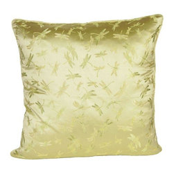 Used Green Dragonfly 20x20 Silk Brocade Pillow - Layering on the perfect throw pillow is the cherry on top for achieving an effortlessly styled effect in your room. This adorable 20x20 green silk pillow features a dragonfly design, piping, a down/feather insert, and a hidden zipper on the back.    We have 5 pillows available. If you would like more than one, please contact support@chairish.com.