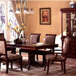 Furniture of America - Furniture of America Ravena Oak 7-piece Cherry Dinette Set - Add intriguing elegance to your dining area with the clean geometrical base of this dining furniture. The Ravena 7-piece cherry dining set with removable leaf can easily adjust to any dining room sizes.