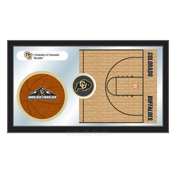"Holland Bar Stool - Holland Bar Stool Colorado Basketball Mirror - Colorado Basketball Mirror belongs to College Collection by Holland Bar Stool The perfect way to show your school pride, our basketball Mirror displays your school's symbols with a style that fits any setting.  With it's simple but elegant design, colors burst through the 1/8"" thick glass and are highlighted by the mirrored accents.  Framed with a black, 1 1/4 wrapped wood frame with saw tooth hangers, this 15""(H) x 26""(W) mirror is ideal for your office, garage, or any room of the house.  Whether purchasing as a gift for a recent grad, sports superfan, or for yourself, you can take satisfaction knowing you're buying a mirror that is proudly Made in the USA by Holland Bar Stool Company, Holland, MI.   Mirror (1)"