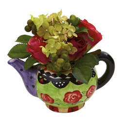 """Rose and Hydrangea with Decorative Vase - Here's a mix that just says """"wow"""". Beautiful, fluffy Hydrangea flowers mixed with the classic rose in full bloom. Add in some lush greenery and berries, and wrap it all up in a colorful, decorative planter. You simply can't go wrong, especially since it'll stay fresh looking for years and years. Makes an ideal piece for the kitchen, dining area, office reception desk, or anywhere else some serious color is needed. Height= 7 In. x Width= 8 In. x Depth= 6 In."""