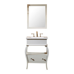 Virtu USA - Hilary Bathroom Vanity Cabinet Set, White, Houzz Exclusive - The Hilary bathroom vanity is elegantly designed for small bath or powder room. This vanity comes with a beautiful ceramic countertop with an integrated basin for an easy clean. This vanity is equipped with one soft closing drawer and an open air storage shelf. The cabinet frame is made from solid oak wood . A large cutout in the back allows for easy plumbing installation.