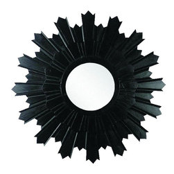 "Black Wood Two Layer Star Burst Wall Mirror - Black Wood Two Layer Star Burst Wall Mirror Hand constructed by master craftsmen of wood & mirror Hand-finished in a multi-step process 30"" diameter over all (mirror 9.5"" diameter) Weight: 8 pounds 3 ounces  Hooks on the back for hanging"