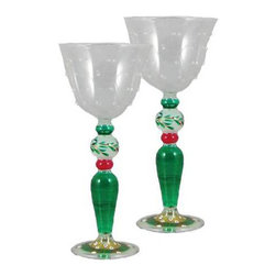 Christmas  Garland Wine with Raised Dots Glasses  Set of 2 - This is a mouth blown wine glass that has raised glass is hand painted and is from our Mosaic collection and inspired by the colorful tiles of the Alhambra.  Something to be handed down from generation to generation. Proudly hand painted in the USA.