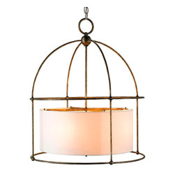 Benson Lantern - Pyrite Bronze - Dark antiqued gold coats the frame of the Benson Lantern, a transitional diffuser-equipped hanging light that distributes a soft glow from behind its filtering ivory drum shade. The intense bronze hue of the domed outer structure, which is shaped much like a birdcage but simplified and pared down into an outline of more perfect minimalism, adds a heated luster to the look and a more traditional air to the ceiling light's essentially practical core.