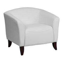 Flash Furniture - Imperial Series White Leather Chair - Make an impression with your clients and customers with this attractive leather reception chair. Reception Chairs are perfect for the office and waiting room seating. Not only will this chair fit in a professional environment, but will add a chic look to your living room space. The contemporary design of this chair will fit in a multitude of environments with its streamlined stitching and curved elevated hardwood feet.