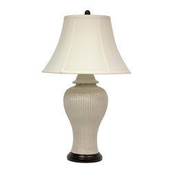 Oriental Furniture - Carinated Ivory Vase Lamp - Oriental temple jar lamp, made of high temperature fired white ceramic. Lamp is ribbed with distressed ivory under glaze and a glossy over glaze. Includes sateen shade, harp and ceramic finial. Display individually or as a matching pair on end tables or mantelpiece. Soft colors match almost any decor color palette.