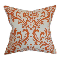 """The Pillow Collection - Olavarria Damask Pillow Orange Natural 20"""" x 20"""" - This damask throw pillow creates a refreshing twist to your interiors. The orange hued print melds well with the background. This accent pillow is perfect for contemporary, modern and other decor styles. Place this 20"""" pillow anywhere inside your home for a chic twist. Made from 100% soft cotton fabric. Hidden zipper closure for easy cover removal.  Knife edge finish on all four sides.  Reversible pillow with the same fabric on the back side.  Spot cleaning suggested."""