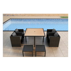 Arbor Cube 9-Piece Patio Dining Set, Charcoal Cushions