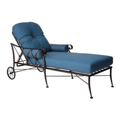 Woodard - Woodard Derby Wrought Iron Adjustable Chaise Lounge Multicolor - 4T0070 - Shop for Chaise Lounges from Hayneedle.com! Relax in luxurious comfort whether you're reading a book or soaking up the sun with the Woodard Derby Wrought Iron Adjustable Chaise Lounge. With back wheels for easy transporting and a backrest that adjusts to several positions this chaise is convenient and comfortable to own. Full of stunning details that are created by expert craftsmen using anvils and hammers this piece is hand formed using the heaviest solid wrought iron stock to ensure its durability. It's available in your choice of stunning colors and premium finish upgrades. The soft plus cushions are available in a variety of colors and upgrades and with optional trims. With so many options you can create a look that's all yours. Ideal for relaxing outside and enjoying the warm weather you'll love being able to relax in a bit of silence and serenity at the end of your day.Woodard: Hand-crafted to Withstand the Test of Time For over 140 years Woodard craftsmen have designed and manufactured products loyal to the timeless art of quality furniture construction. Using the age-old art of hand-forming and the latest in high-tech manufacturing Woodard remains committed to creating products that will provide years of enjoyment.Superior Materials for Lasting Durability Each piece in the Classics Collection is hand-formed using solid wrought iron stock: the heaviest available. The technique used to create Woodard wrought iron furniture has been handed down from generation to generation. To this day expert workers use anvils and hammers to forge intricate detail in the iron.Most Woodard furniture is assembled by experienced professionals before being shipped. That means you can enjoy your furniture immediately and with confidence. Together these elements set Woodard furniture apart from all others. When you purchase Woodard you purchase a history of quality and excellence and furniture that will last well into the future.Important NoticeThis item is custom-made to order which means production begins immediately upon receipt of each order. Because of this cancellations must be made via telephone to 1-800-351-5699 within 24 hours of order placement. Emails are not currently acceptable forms of cancellation. Thank you for your consideration in this matter.