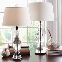 """CFL Marson Crystal Bedside Lamp Base - Thick curves of crystal and a sturdy iron center distinguish our Marston Lamp Bases. Small Table Lamp: 5"""" diameter, 24.5"""" high Large Table Lamp: 6"""" diameter, 28"""" high Crafted of K9 crystal and iron. Pair with our small (Small Table Lamp) or medium (Large Table Lamp) Mix & Match(R) shades (sold separately). Dimmer switch on socket; plug-in. UL-listed. Title 20 compliant lamps will be shipped to CA addresses. {{link path='pages/popups/california_code_popup.html' class='popup' width='480' height='300'}}Learn more{{/link}} to understand product differences."""