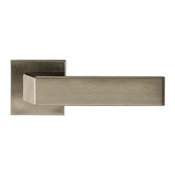 Door Lever Set Helsinki, Titan - This modern and stylish lever set will enhance your interior door and makes it a true conversational piece. It is from solid cast iron and available in different finishes. The set includes the handles on both sides, both rosettes and the mortise lock for passage or privacy. This lever set is made for custom doors that are not pre-hung or prepped for standard handles.