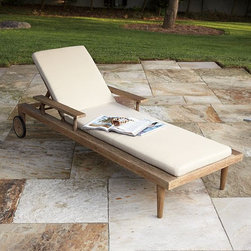 Dexter Outdoor Lounger - The perfect place for reading, lounging and lolling about, with a spindled back that takes its inspiration from the style of a classic Windsor chair, this pieces is built from durable, sustainably harvested wood that's been certified by the Forest Stewardship Council (FCS). Its beautiful weathered driftwood finish has been covered with a polyurethane coating to increase its ability to resist the elements.