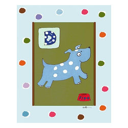 Oh How Cute Kids by Serena Bowman - D is for Dog in Blue, Ready To Hang Canvas Kid's Wall Decor, 8 X 10 - Each kid is unique in his/her own way, so why shouldn't their wall decor be as well! With our extensive selection of canvas wall art for kids, from princesses to spaceships, from cowboys to traveling girls, we'll help you find that perfect piece for your special one.  Or you can fill the entire room with our imaginative art; every canvas is part of a coordinated series, an easy way to provide a complete and unified look for any room.