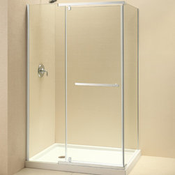 "Dreamline - Quatra 58-3/8 to 58-3/4""W x 34-3/8""D x 72""H Pivot Shower Enclosure - The QUATRA Shower Enclosure offers a flowing frameless glass design for a sleek and modern look. The sophisticated pivot hardware delivers an effortless operation, while upper and lower stainless steel brackets prevent water leaks and secure the structure. Install the QUATRA on a custom tiled floor or an optional DreamLine shower base to dramatically transform your bathroom."