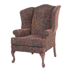 Comfort Pointe - Paisley Cranberry Wing Back Chair - Solid hardwood frame ensures long lasting durability. No Assembly Required. Drop-In Coil system for a more comfortable seat. Seat Cushion is wrapped in Dacron which is soft polyester fibers for better quality and comfort. Foam density is 1.8. Complete with welting on all seams and double welting above the front legs.. Fabric: Paisley design fabrics are extra plush chenille. Fabric Content: 75% Rayon and 25% Polyester. Finish: Cherry Finish. Seat Height: 19.5 inches. Cushion Depth: 20 in.. Arm Height: 24.5 inches. 28 in. W x 35 in. D x 42 in. H (45 lbs.). Made in U.S.A.The Paisley Cranberry chair is proudly handcrafted in the USA and offers a solid hardwood frame, drop-in coil suspension system which offers superior comfort and stability, and welting on all seams.  The paisley design fabric is an extra plush chenille that just feels great.  You'll enjoy sitting in the chair for hours at a time.