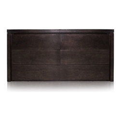 Massiano Dresser Brown - The Massiano Dresser is a combination of rustic meeting modern. The simple, clean polished lines of the wood dresser build a strong, but tranquil element in a room. The Massiano Dresser is formulated with six drawers, allowing ample space for your items. Place the Formations Sculpture on top the Massiano Dresser to add that extra zest to your space. This dresser is available in both a black or brown finish, being sure to have an option for everyone!