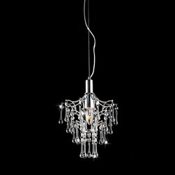 None - Helena Chrome and Crystal Droplet Chandelier - This small, single-bulb, crystal chandelier light fixture is perfect for compact spaces, yet it produces a very big impression of glamorous sparkle and shine. Crystal droplet pendants hang from a chromed steel base, multiplying every beam of light.