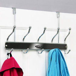 Samsonite - Samsonite Chrome/ Onyx 10-hook Over The Door Hanger - Organize the chaos with this charming, ten-hook over the door hanger from Samsonite. This functional storage solution offers a durable stainless steel construction with a chrome and onyx finish, and an easy access design.