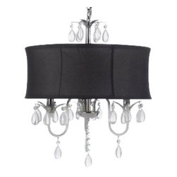 "The Gallery - MODERN BLACK DRUM SHADE & CRYSTAL CEILING CHANDELIER PENDANT LIGHTNING FIXTUR... - 100% Crystal Chandelier. A Great European Tradition. Nothing is quite as elegant as the fine crystal chandeliers that gave sparkle to brilliant evenings at palaces and manor houses across Europe. This beautiful chandelier has 3 lights and is decorated and draped with 100% crystal that capture and reflect the light of the candle bulbs. This wonderful chandelier also comes with the large shade as shown. The timeless elegance of this chandelier is sure to lend a special atmosphere anywhere its placed!Assembly Required **SHADE INCLUDED** Specifications Size:W 18 H 22"" Finish:Black Shade / Chrome Fixture Lights:3 Lights THIS ITEM COMES WITH A SWAG PLUG-IN KIT , 14 FEET OF HANGING CHAIN AND WIRE"