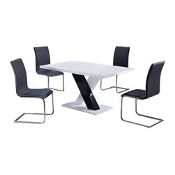 "Global Furniture USA - D490DT + D490DC White Lacquer & Black Vinyl Five Piece Dining Set - This black and white high gloss dining table will create an instant upgrade to your current decor. Featuring a rectangular top and ""X"" shaped base this piece is sure to suit your entertaining needs. The elegant design of these armless side chairs beautifully compliment the look of the dining table. The chairs come upholstered in a stunning black vinyl material with a high curved back. These pieces not only boast a sophisticated, sleek look, but they are exceptionally comfortable as well. The dining set includes the dining table and four chairs only."