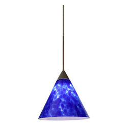 Besa Lighting - Besa Lighting 1XT-512186 Kani 1 Light Halogen Cord-Hung Mini Pendant - The Kani pendant features a compact cone-shaped glass, that will gracefully blend into almost any decorating theme. Our Blue Cloud glass is full of floating, splashes of blue tones over white that almost feels like a watercolor painting. This combination of color is crisp and timeless. This decor is created by rolling molten glass in small bits of blue hues called frit. The result is a multi-layered blown glass, where frit color is nestled between an opal inner layer and a clear glossy outer layer. The handcrafted touch of a skilled artisan, utilizing century-old techniques passed down from generation to generation, creates variations in color and design that are to be appreciated. The 12V cord pendant fixture is equipped with a 10' braided coaxial cord with teflon jacket and a low profile flat monopoint canopy.Features:
