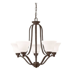 Kichler Lighting - Kichler Lighting 1783OZ Langford Transitional Chandelier - This classic 5 light chandelier from the Langford™ collection is a timeless accent fitting for any space. The Olde Bronze™ finish and Satin Etched Glass combine to create a refined statement.