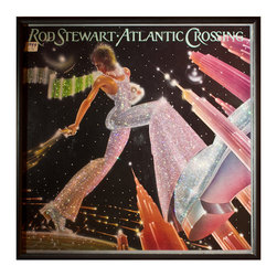 """Glittered Rod Stewart Atlantic Crossing - Glittered record album. Album is framed in a black 12x12"""" square frame with front and back cover and clips holding the record in place on the back. Album covers are original vintage covers."""