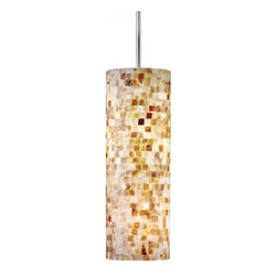 "Hart Lighting - Visaya 18"" Shell Cylinder Pendant - If you want a subtle nod to the islands, then this lamp is the perfect choice. The modern cylindrical design sets off the tiny mosaic of shells on the shade, and the slim metallic suspension cord provides an industrial contrast to the organic material."