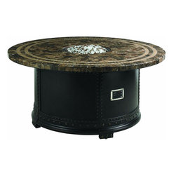 Lexington - Tommy Bahama Kingstown Sedona Fire Pit - The top surface is crafted from Spanish Cafe Emperador marble with 1-inch square copper inlays that catch the glow of the fire light and provides the ambiance desired for a restful evening outdoors. Remote control to three flame levels.