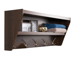 Prepac - Prepac Floating Entryway Shelf and Coat Rack in Espresso - Prepac - Coat Racks - EUCW05001 - Outfit your foyer with a smart and stylish storage solution ready for anything your family can throw at it. This modern shelf features 5 solid metal hooks that provide a perfect perch for coats hats and other entryway essentials. Open design shelves provide a handy spot to drop your keys purse wallet or to display decorative items. This product ships Ready To Assemble and includes an easy to follow instruction booklet. Our innovative hanging rail system includes all mounting hardware which makes installing at any height a breeze. Proudly manufactured in Canada using composite woods and finished with durable laminates.