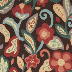 Teal, Blue, Orange, Red and Brown, Floral Contemporary Upholstery Fabric By The - This contemporary upholstery jacquard fabric is great for all indoor uses. This material is uniquely designed and durable. If you want your furniture to be vibrant, this is the perfect fabric!