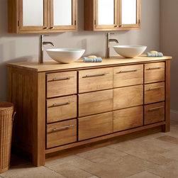 "72"" Venica Teak Double Vessel Sink Vanity - Maximize your master bathroom with the 72"" Venica Teak Double Vanity, created for use with two vessel sinks."