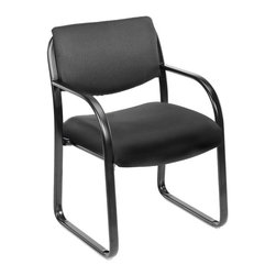 BOSS Chair - Curved Arm Reception Chair Upholstered In Com - Fully upholstered with commercial grade fabric. Polished tubular steel frame coated with Black scratch resistant finish. Thick contoured cushions for added comfort support. Moves smoothly over hard surface ad plush carpeting. Curved arms easily clear front edges when pulled close to table. Cushion color: Black. Base/wood: Black. Seat size: 20 in. W x 20 in. D. Seat height: 18.5 in. H. Arm height: 25.5 in. H. Overall dimension: 23 in. W x 24.5 in. D x 34.5 in. H. Weight capacity: 250 lbs