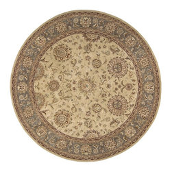 Nourison - Traditional Nourison 2000 Round 4' Round Beige Area Rug - The Nourison 2000 area rug Collection offers an affordable assortment of Traditional stylings. Nourison 2000 features a blend of natural Beige color. Hand Knotted of 100% Wool-Silk the Nourison 2000 Collection is an intriguing compliment to any decor.